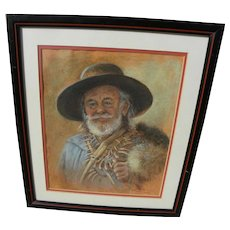 Western American art pastel drawing of frontiersman signed Lea