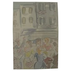 Mid Century American watercolor painting of figures conversing in street or square
