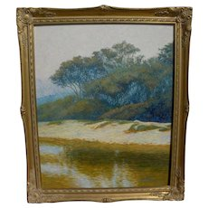 Impressionist signed contemporary landscape painting with trees and water