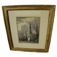 THOMAS NASON (1889-1971) original fine wood engraving Old Lyme Church pencil signed print dated 1956