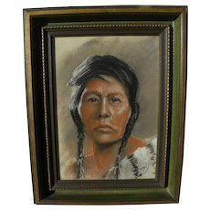 LEONARD BORMAN (1894-1995) pastel drawing of Native American woman by listed California artist
