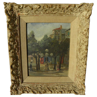 JEAN FOUS (1901-1971) French naive style painting of people in a town scene
