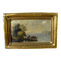 English mid 19th century antique painting of hay wagon horses watering at river