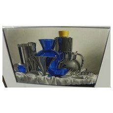 """MICHAEL J. WEBER (1941-) impressive realism watercolor still life painting """"Cobalt Glass With Chrome"""""""