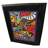 ROMERO BRITTO (1963-) hand signed limited edition poster by internationally known Pop Art artist