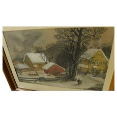American folk art pastel drawing of New England winter landscape after George Henry Durrie