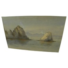 California art early watercolor painting of Catalina Island coast dated 1892