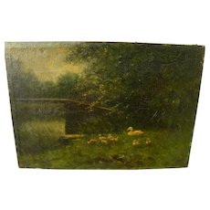 CONSTANT ARTZ (1870-1951) fine old Dutch oil painting of duck family in country setting