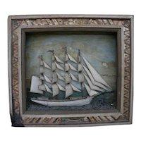 American marine folk art large clipper ship diorama shadowbox circa 1900