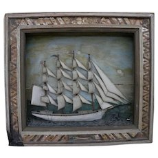 American marine folk art large clipper ship diorama shadowbox circa 1900