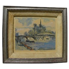 PIERRE EUGENE CAMBIER (1914-2001) French art watercolor painting of quai and Notre Dame in Paris