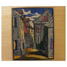German 1909 pencil signed street scene woodblock print with colors