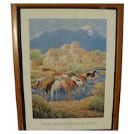 ILA MAE McAFEE (1897-1995) hand signed poster for the 1992 Taos New Mexico Arts Festival