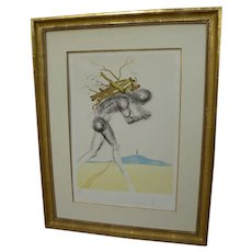 "SALVADOR DALI (1904-1989) original signed etching ""Issachar"" of series ""Twelve Tribes of Israel"" 1973 by the Surrealist master artist"