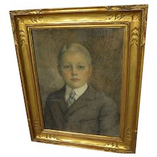 MARGUERITE DOWNING SAVAGE (1879-1976) fine illustration portrait drawing in fine gold frame