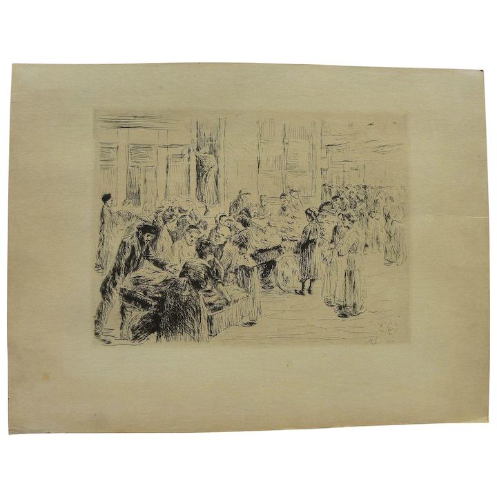 MAX LIEBERMANN (1847-1935) etching of figures in Amsterdam Jewish  marketplace by famous German artist