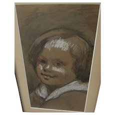 Vintage mixed media drawing of a young boy