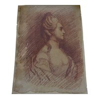 European old master 18th century drawing of noblewoman or royalty