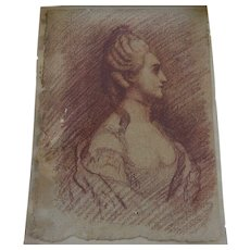 French old master 18th century drawing of noblewoman or royalty