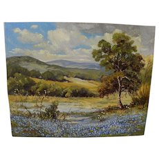 Texas bluebonnet landscape painting signed