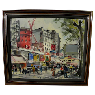 MAURICE LEGENDRE (1928-) French art impressionist painting of Moulin Rouge in Paris