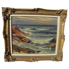 "CHRISTIAN VON SCHNEIDAU (1893-1976) California plein air art seascape painting ""Laguna Waves"""