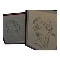Jewish art PAIR lithographs of man and woman signed in Hebrew