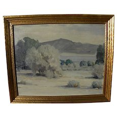 KATHRYN  LEIGHTON (1875-1952) oil painting of California desert by master of Indian portraits and Southwest landscapes