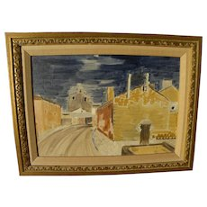 Interesting impressionist vintage painting of townscape signed with initials