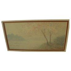 Japanese impressionist watercolor landscape painting signed M. MASAHIRO