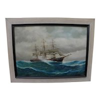 LOUIS PAPALUCA (Junior) Italian marine artist painting of clipper ship on the high seas