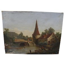 Circa 1860 antique classical landscape painting English or American origin