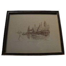 "LOUIS KINNEY HARLOW (1850-1913) etching ""Cape Ann Near Gloucester"" by American artist"