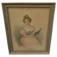 A BOCK circa 1840 watercolor drawing of a seated young woman