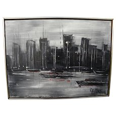 Mid-Century signed modern painting of big city skyline