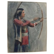 Vintage watercolor painting of Native American warrior with hunting bow