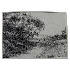 HENRY KETTING OLIVIER (1924-2004) charcoal drawing of Malibu landscape by listed California artist
