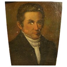 American 1840's early portrait painting of a man
