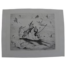 "ETHEL MAGAFAN  (1916-1993) signed limited edition etching ""November Leaves"" by noted Colorado artist"