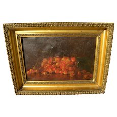 American late 19th century signed oil painting of cherries on a tabletop