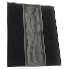ALINARI brothers (Italy) circa 1870's photograph of warrior sculpture in Athens museum