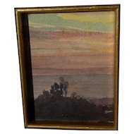 ALBERT THOMAS DeROME (1885-1959) California art miniature watercolor painting of eucalyptus treeline at sunset