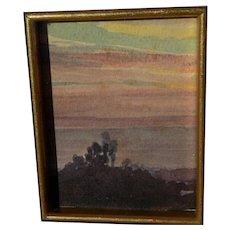 ALBERT THOMAS DeROME (1885-1959) California art miniature watercolor painting of eucalyptus treeline at sunset