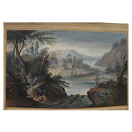 Old Master gouache classical landscape drawing after style of Claude Lorrain (c. 1600-1682)