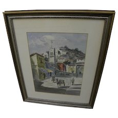 Italian signed vintage watercolor painting of classic Mediterranean village