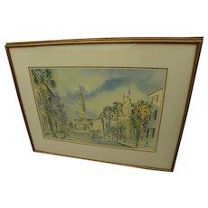 VIRGINIA FOUCHE BOLTON (1929-2004) pencil signed print of Charleston South Carolina scene