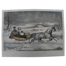 "CURRIER & IVES famous 1853 lithograph print ""The Road, Winter"" early day quality restrike with hand coloring"