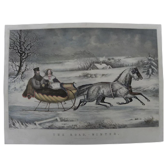 """CURRIER & IVES famous 1853 lithograph print """"The Road, Winter"""" early day quality restrike with hand coloring"""