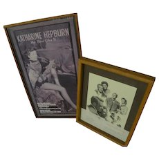 KATHARINE HEPBURN (1907-2003) Hollywood memorabilia **two** autographs on letterhead card and gallery poster