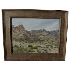 California plein air impressionist desert landscape painting by local artist